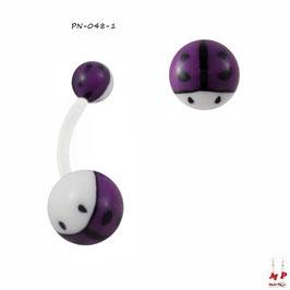 Piercing nombril bioflex boules acryliques à coccinelles