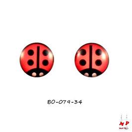 Boucles d'oreilles acier logo coccinelle rouge à point noirs