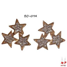 Boucles d'oreilles étoiles dorées serties de strass