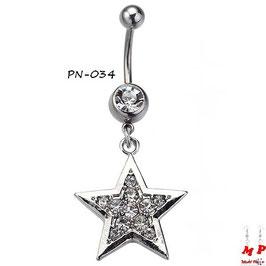Piercing nombril pendentif étoile argentée sertie de strass