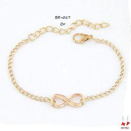 Bracelet infini doré ou argenté