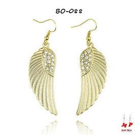 Boucles d'oreilles pendantes ailes d'ange avec strass