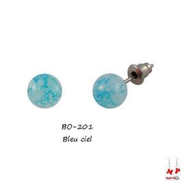 Boucles d'oreilles perles effet peinture effritée 12 couleurs