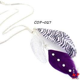 Collier à pendentif plumes violette, zébrée et argentée