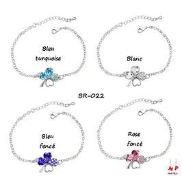Bracelets trèfles à quatre feuilles argentés et cristal