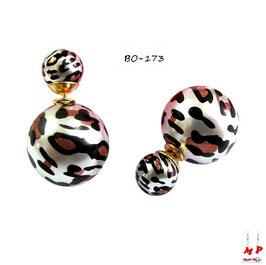 Boucles d'oreilles double perles tachetées