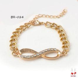 Bracelet infini doré avec strass et gros maillons