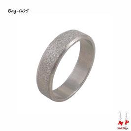 Bague anneau à paillettes argentées en acier chirurgical