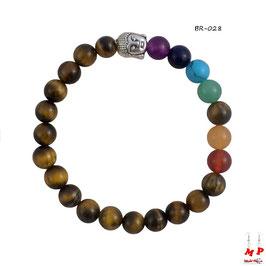 Bracelet d'harmonisation bouddha en pierres d'oeil de tigre et pierres précieuses