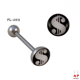 Piercing langue logo dollar