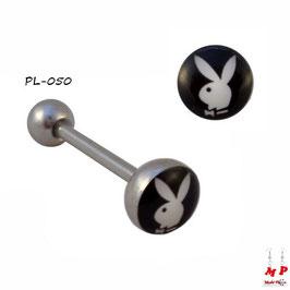 Piercing langue logo Playboy blanc et noir