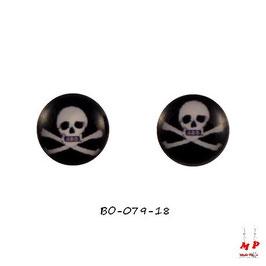 Boucles d'oreilles acier logo tête de mort