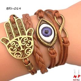 Bracelet infini brun multi-breloques main de Fatma dorée et oeil
