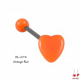 Piercing langue coeur orange en acrylique