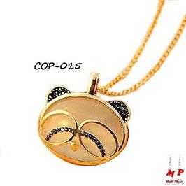Collier à pendentif tête de panda opale et doré