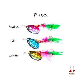 Cuiller à palette tournante brillante et plume bicolore