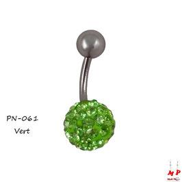 Piercing nombril shamballa vert