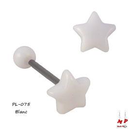 Piercing langue étoile blanche en acrylique