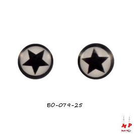 Boucles d'oreilles acier logo étoile noire et blanche
