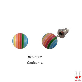 Boucles d'oreilles perles rayées colorées 8mm