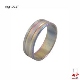 Bague anneau argenté à doubles bandes arc-en-ciel en acier chirurgical