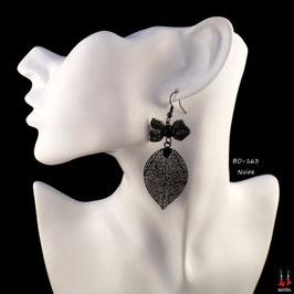 Boucles d'oreilles pendantes noeuds papillons et feuilles filigrane
