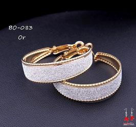 Boucles d'oreilles petits anneaux larges avec paillettes argentées