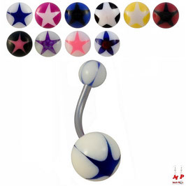 Piercings nombrils à boules acryliques motif étoiles