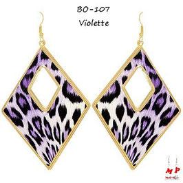 Boucles d'oreilles pendantes créoles losanges motif léopard