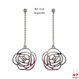 Boucles d'oreilles chaines à billes et roses pendantes dorées ou argentées