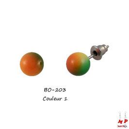 Boucles d'oreilles perles tricolores 8mm