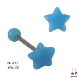 Piercing langue étoile bleu ciel en acrylique
