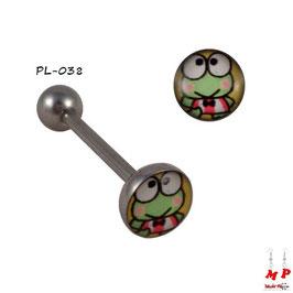 Piercing langue logo grenouille verte