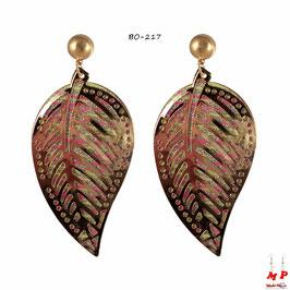 Boucles d'oreilles pendantes feuilles dorées à paillettes argentées et rayures jaunes et roses fluo