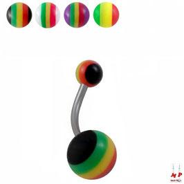 Piercings nombrils à boules acryliques rasta