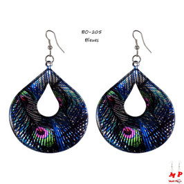 Boucles d'oreilles pendantes ovales motif plume de paon