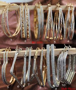Boucles d'oreilles anneaux coeurs, carrés, triangles, rondes dorés ou argentés