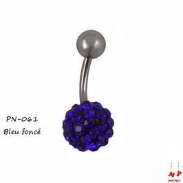Piercing nombril shamballa bleu foncé