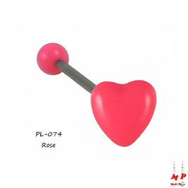 Piercing langue coeur rose en acrylique
