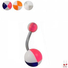 Piercings nombrils à boules acryliques motif ballons de plages