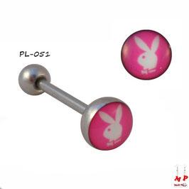 Piercing langue logo Playboy blanc et rose