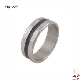 Bague anneau argenté à bande noire en acier inoxydable