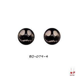 Boucles d'oreilles acier logo monstre noir et blanc