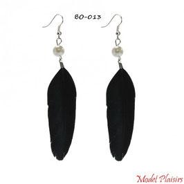 Boucles d'oreilles plumes noires pendantes et perles nacrées