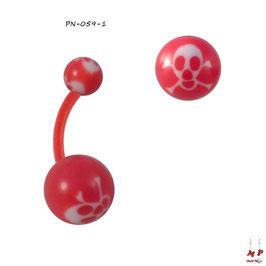 Piercing nombril bioflex boules acryliques à têtes de morts