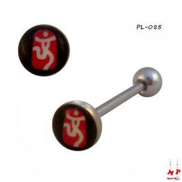 Piercing langue logo bonhomme blanc, rouge et noir en acier chirurgical