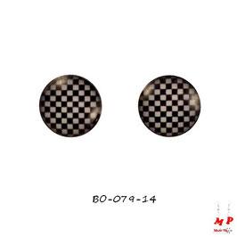 Boucles d'oreilles acier logo petit échiquier noir et blanc