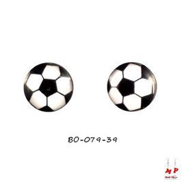 Boucles d'oreilles ballon de foot noir et blanc
