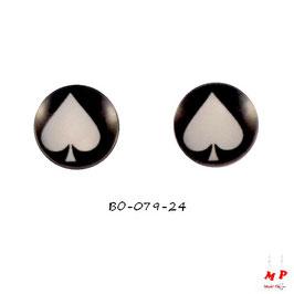 Boucles d'oreilles acier logo pique noir et blanc