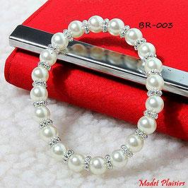 Bracelet élastique et perles nacrées